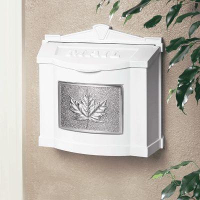 Wallmount Mailbox Leaf Design - White with Satin Nickel