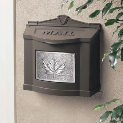 Wallmount Mailbox Leaf Design - Bronze with Satin Nickel