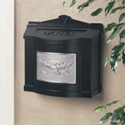 Wallmount Mailbox Eagle Design- Black with Satin Nickel