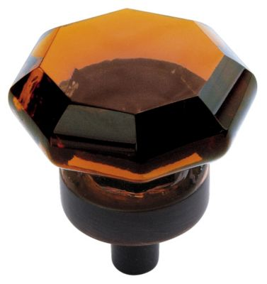 Traditional Classics 1'' Diameter Amber Glass Knob - Oil Rubbed Bronze