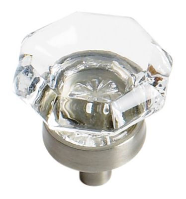 Traditional Classics 1'' Diameter Clear Glass Knob - Satin Nickel