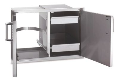 Premium Stainless Steel Double Doors with Trash Tray & Dual Drawers