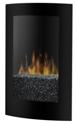 Convex Electric Recessed/Wall-Mount Fireplace - Black
