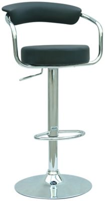 0326 Series Swivel & Adjustable Height Stool - Chrome with Black Upholstery