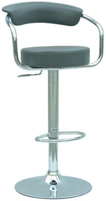0326 Series Swivel & Adjustable Height Stool - Chrome with Dark Gray Upholstery