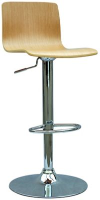 0353 Series Bent Wood Swivel & Adjustable Height Stool - Chrome with White Oak