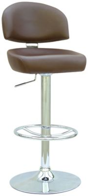 0362 Series Swivel & Adjustable Height Stool - Chrome with Brown Upholstery