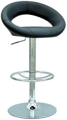 0379 Series Pneumatic Gas Lift Adjustable Height Stool - Chrome with Black Upholstery