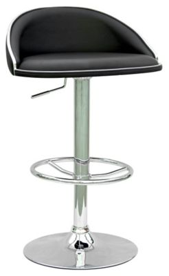 0388 Series Pneumatic Gas Lift Adjustable Height Stool - Chrome with Black Upholstery