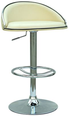 0388 Series Pneumatic Gas Lift Adjustable Height Stool - Chrome with Crème Upholstery