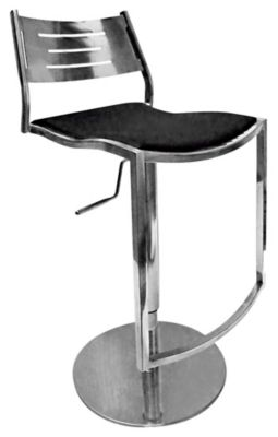 0511 Series Pneumatic Gas Lift Adjustable Height Stool - Shiny Stainless Steel with Black Upholstery