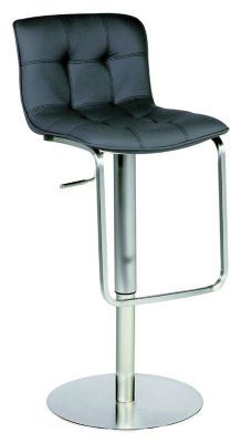 0515 Series Pneumatic Gas Lift Adjustable Height Stool - Stainless Steel with Black Upholstery