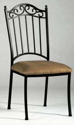 0710 Series Wrought Iron Side Chair - Antique Taupe with Taupe Suede