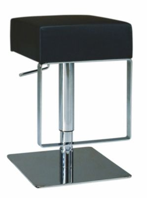 0811 Series Pneumatic Gas Lift Adjustable Height Swivel Stool - Brushed Stainless Steel with Black Vinyl