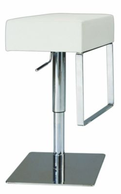0811 Series Pneumatic Gas Lift Adjustable Height Swivel Stool - Brushed Stainless Steel with White Vinyl