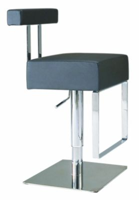 0812 Series Pneumatic Gas Lift Adjustable Height Swivel Stool - Brushed Stainless Steel with Black Vinyl