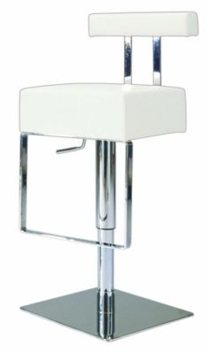 0812 Series Pneumatic Gas Lift Adjustable Height Swivel Stool - Brushed Stainless Steel with White Vinyl