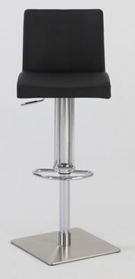 0814 Series Pneumatic Gas Lift Adjustable Height Swivel Stool -Brushed Stainless Steel with Black Vinyl