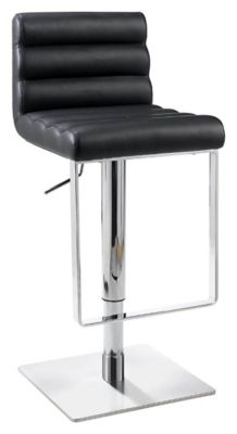0830 Series Pneumatic Gas Lift Adjustable Height Swivel Stool - Brushed Stainless Steel with Black Vinyl