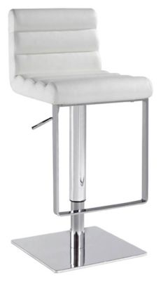 0830 Series Pneumatic Gas Lift Adjustable Height Swivel Stool - Brushed Stainless Steel with White Vinyl