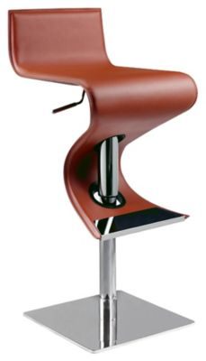 0833 Series Pneumatic Gas Lift Adjustable Height Swivel Stool - Brushed Stainless Steel with Rust Upholstery