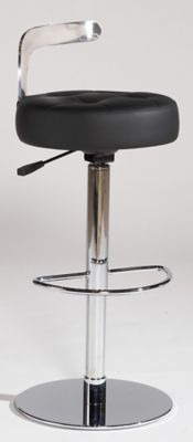 Canal Adjustable Swivel Stool - Chrome with Black Upholstery
