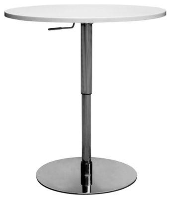 John Adjustable Pub Table - White/Stainless Steel/Chrome