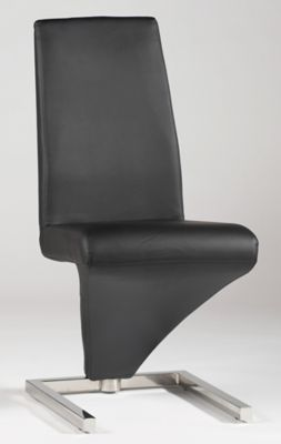 Sabrina Z-Frame Side Chair - Stainless Steel with Black Vinyl