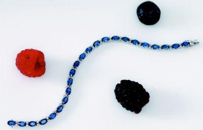 Women's Blue Sapphire & Diamond Tennis Bracelet - 18k White Gold