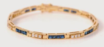 Women's Blue Sapphire & Diamond Contemporary Bracelet - 18k Yellow Gold