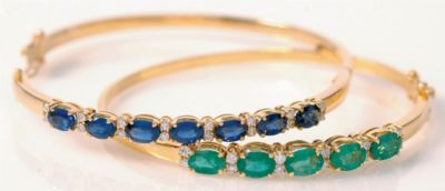 Women's Blue Sapphire & Diamond Bangle Bracelet - 18k Yellow Gold