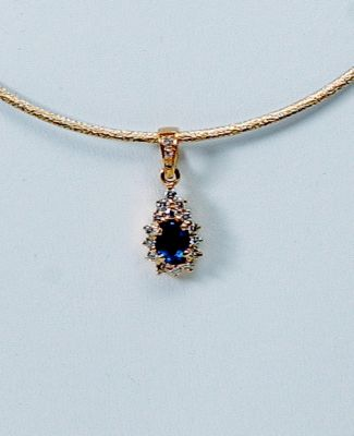 Blue Sapphire Diamond Cluster Pendant - 18k Yellow Gold, Diamonds