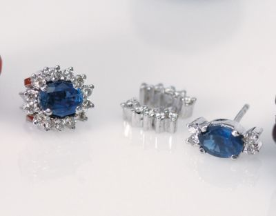 Blue Sapphire & Diamond Cluster Earrings - 18k White Gold