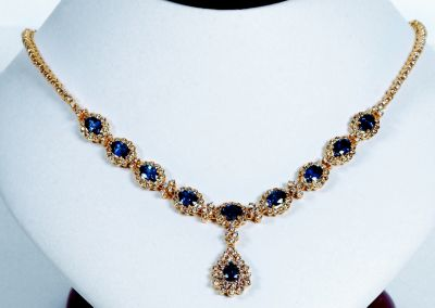 Blue Sapphire & Diamond Formal Necklace - 18k Yellow Gold