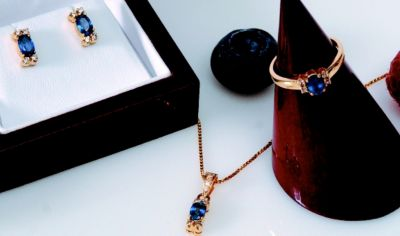 Blue Sapphire Set - Ring, Earrings & Pendant - 14k Yellow Gold, Diamonds