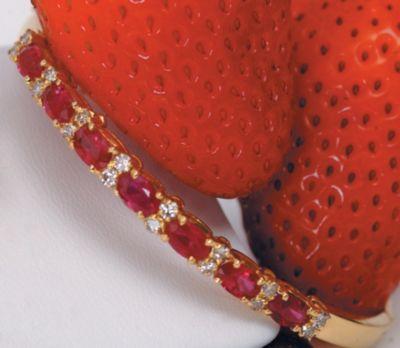 Women's Ruby & Diamond Bangle Bracelet - 18k Yellow Gold