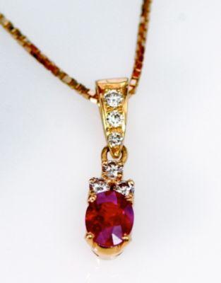 Ruby Pendant - 18k Yellow Gold, Diamonds