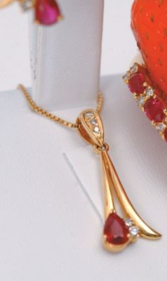 Ruby & Diamond Drop Pendant - 18k Yellow Gold