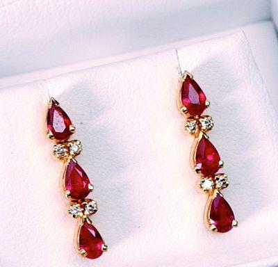 Ruby & Diamond Cascade Earrings - 18k Yellow Gold, Diamonds