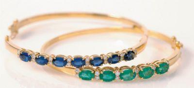 Women's Emerald & Diamond Bangle Bracelet - 18k Yellow Gold, Diamonds