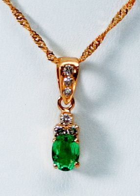 Emerald Pendant - 18k Yellow Gold, Diamonds