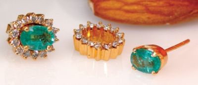 Emerald & Diamond Cluster Earrings - 18k Yellow Gold