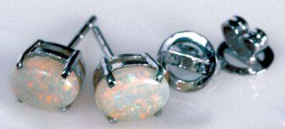 Opal Stud Earrings - 18k White Gold