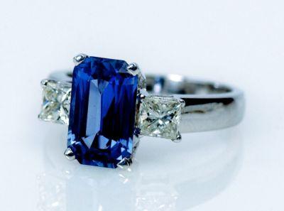 Women's Blue Sapphire (Emerald Cut) & Diamond Ring - 18k White Gold