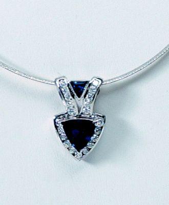 Blue Sapphire & Diamond Pendant (Trillion Cut) - 18k White Gold + Reversible Omega Chain