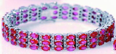 Women's Ruby Triple Row & Diamond Bracelet - 18k White Gold