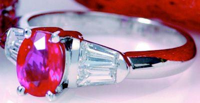 Women's Ruby & Diamond Baguette Cocktail Ring - 18k White Gold