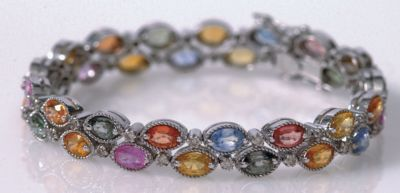 Women's Multi Sapphire Double Row Bracelet - 18k White Gold, Diamonds