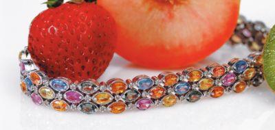 Women's Multi Sapphire Triple Row Bracelet - 18k White Gold, Diamonds