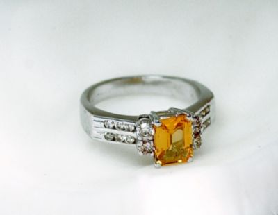 Women's Yellow Sapphire (Emerald Cut) Cocktail Ring - 18k White Gold, Diamonds